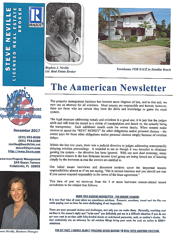 Newsletter About Steve, and Susan Neville Owners of Aamerican