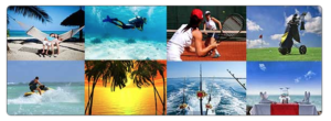 Collage of pictures Hammock on the beach, scuba diver, tennis players, golf bag on a course, sunset, boat with fishing poles.